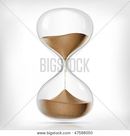 True transparent sand hourglass isolated on white background. Simple and elegant sand-glass timer. Sand clock icon 3d illustration.