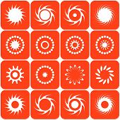 Abstract sun icons. Design elements. Vector illustrations.. poster