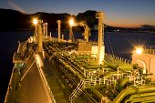 LNG carrier ship designed for transporting natural gas anchored poster