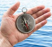 human hand with old pocket compass over sea or ocean surface poster