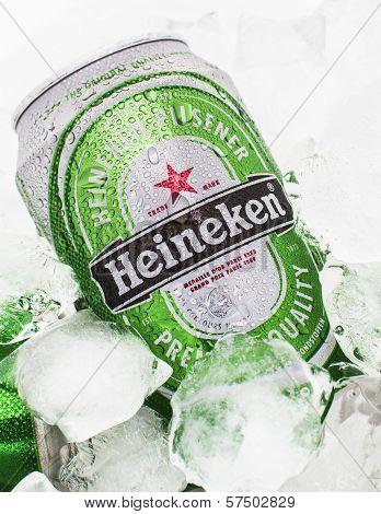 Heineken beer can on ice