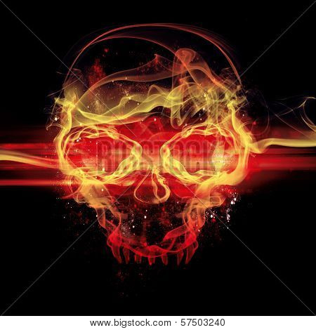 Flames Skull On Black Background