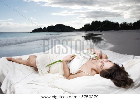 Bed on beach