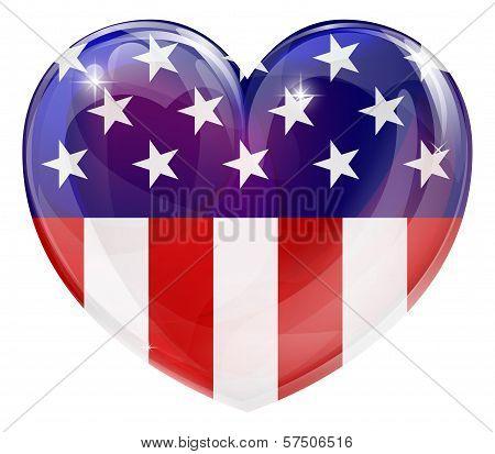 American Flag Love Heart