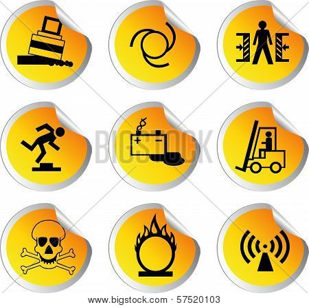 Stock Color Vector Glossy Stickers With Warning Signs Set 2