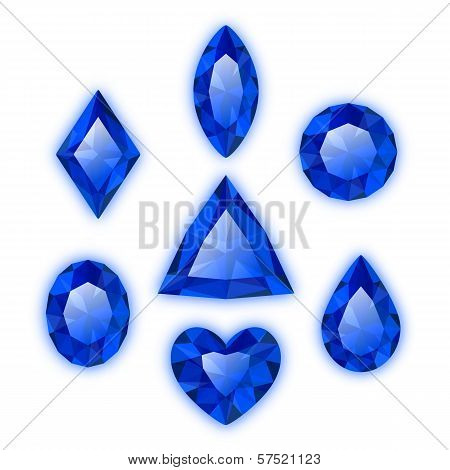 Set of gems isolated on white