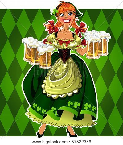 Pretty Leprechaun Girl In Green With Beer On Green Background