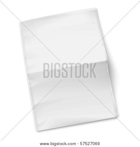 Blank newspaper template on white background