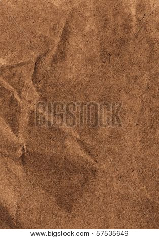 High Resolution Crumpled Textured  Recycled Paper  Background. Vintage Craft Cardstock Texture Dark