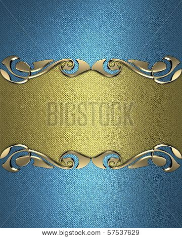 Blue background with a gold name plate with patterns