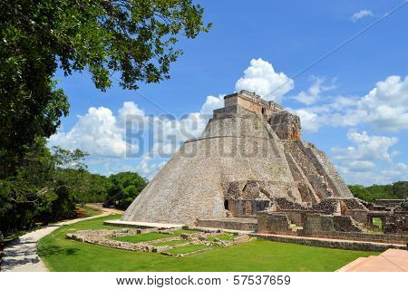 Anicent Mayan Pyramid Uxmal In Yucatan, Mexico
