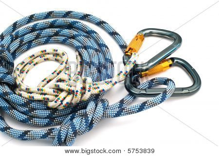 Carabiners Without Scratches And Blue Rope