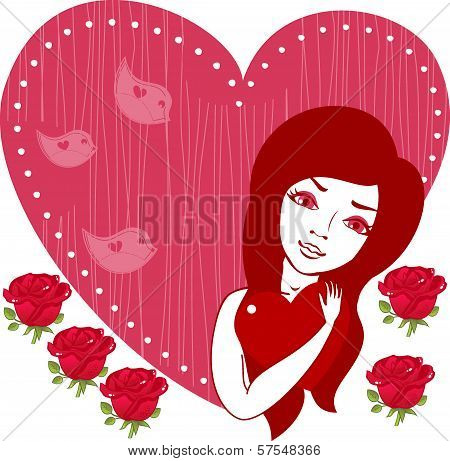 Beautiful Girl Holding Red Heart And  Roses.