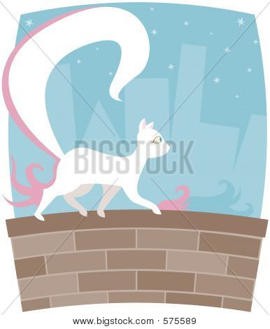 White kitty with a HUGE tail, walking along a brick wall with cityscape and stars in the background poster