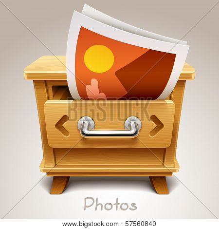 Wooden drawer illustration for photos icon