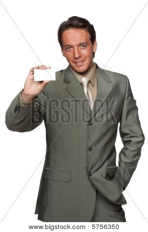 Young Businessman With Business Card