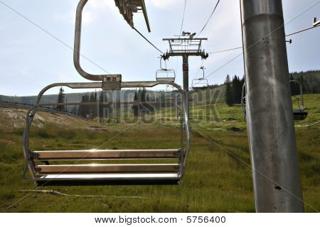 Ski Resort Chairlifts During Summer.