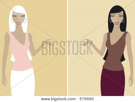 Women in presentation pose - use together or seperately poster