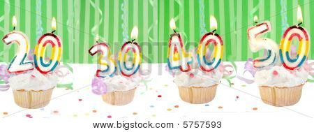 Birthday Number Cupcakes Banner