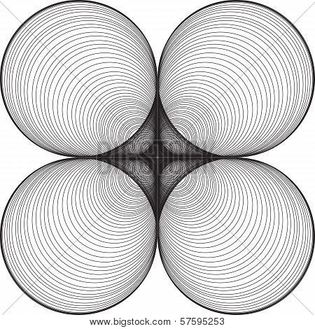 Black and White Abstract Psychedelic Background of Circular Shapes poster