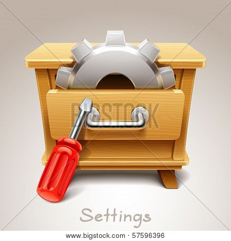 Wooden drawer illustration for settings icon