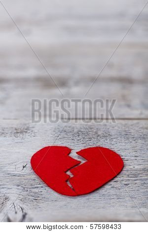 Broken Red Felt Heart