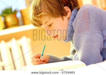 Boy doing homework on bed in sunny bedroom poster