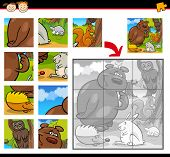 Cartoon Illustration of Education Jigsaw Puzzle Game for Preschool Children with Funny Wild Forest Animals Group poster