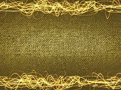 Overlaying wavy lines forming an abstract pattern on a gold background. Template for text. poster