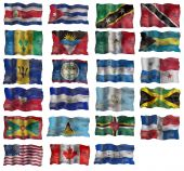 Set of North America flags. Illustration over white background poster