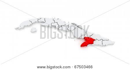 Map of Granma. Cuba. 3d