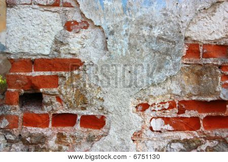 Old Brick Wall With Cracked Plastering Background Horizontal