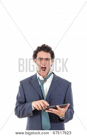 Upset And  Pissed Off Tired Man In Suit Uses Tablet For Work