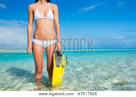 Beautiful Young Woman on Tropical Beach with Snorkel Gear