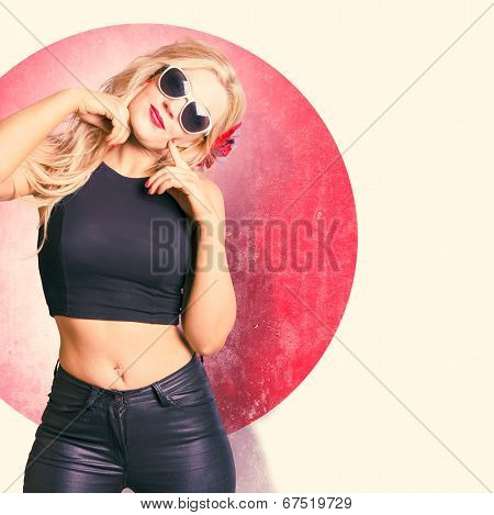 Beautiful Blond Pinup Girl With Shocked Expression