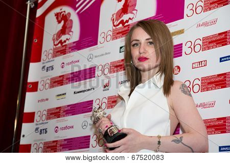 MOSCOW - JUNE, 28: Russian director V.G. Germanika with prize (movie Yes and Yes). 36st Moscow International Film Festival. Closing Ceremony at Rossiya Cinema . June 28, 2014 in Moscow, Russia