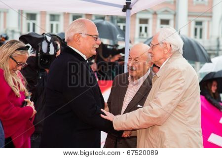 MOSCOW - JUNE, 28: Nikita Mikhalkov greeting guests of festival. 36st Moscow International Film Festival. Closing Ceremony at Rossiya Cinema . June 28, 2014 in Moscow, Russia