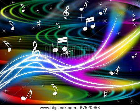 Music Swirls Background Shows Flourescent Musical And Tune.
