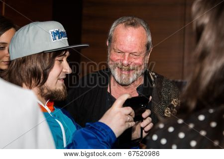 MOSCOW - JUNE, 14: American director Terry Gilliam with fans. Premiere of his movie The Zero Theorem at the Barvikha Village. June 14, 2014 in Moscow, Russia