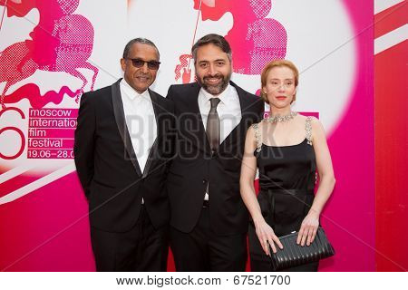 MOSCOW - JUNE, 28: Jury -Director A. Sissako, actress F. Petri, L. Koguashvili . 36st Moscow International Film Festival. Closing Ceremony at Rossiya Cinema . June 28, 2014 in Moscow, Russia