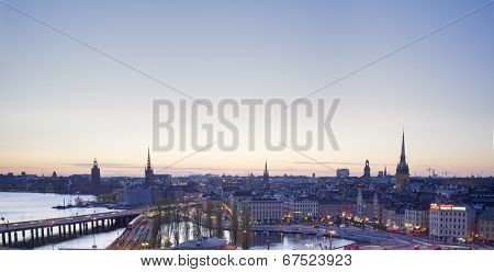 STOCKHOLM, SWEDEN - MAY 17, 2014: A View of Stockholm city, as seen from the Slussen Katarinahissen