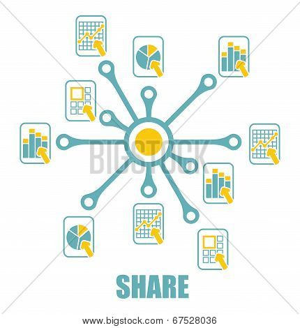 Share Sign With Abstract Document Icons