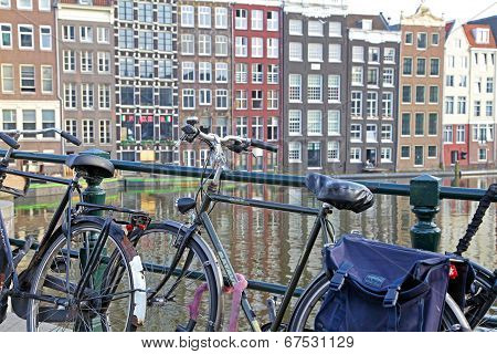 Bicycle And Typical Architecture In Amsterdam, Netherlands