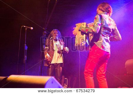 LOULE - JUNE 26: Winston Mcanuff and Fixi, traditional music duo from Jamaica and France, performs on stage at festival med, a world music festival, in Loule, Portugal, June 26, 2014