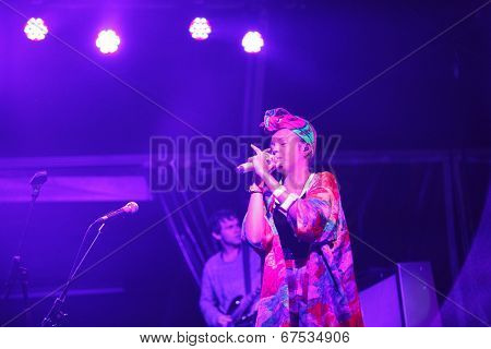 LOULE - JUNE 26: Bomba Estereo an eletronic dance music band from Colombia, performs on stage at festival med, a world music festival, in Loule, Portugal, June 26, 2014