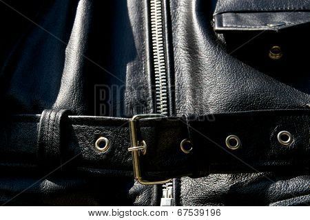 Black Leather Biker Jacket Belt Zipper And Pocket