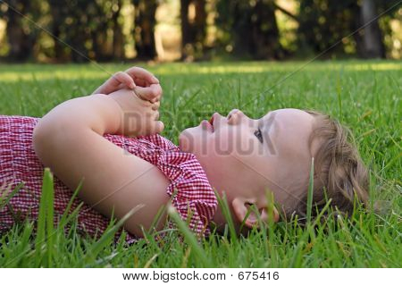 Cute Toddler Lying On The Grass