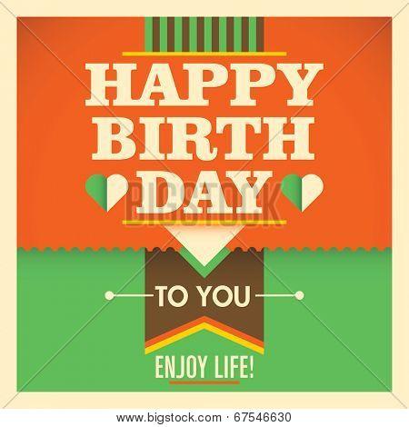 Retro birthday greeting card. Vector illustration.