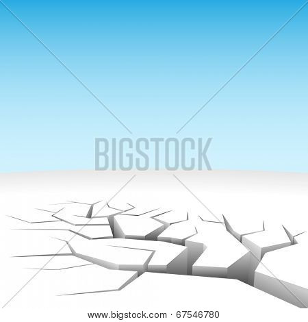Illustration of abstract 3D land cleft isolated on white.
