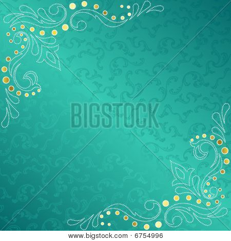 Turquoise frame with delicate sari inspired swirls